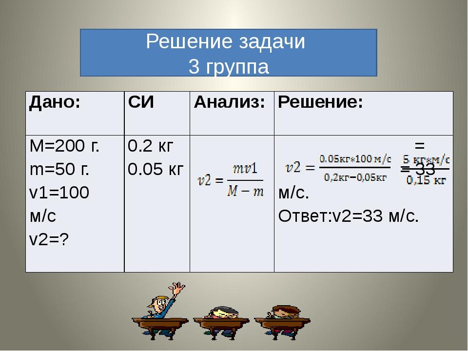 Решение задачи 3 группа Дано: СИ Анализ: Решение: M=200г. m=50г. v1=100м/с v2...