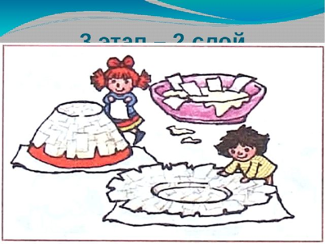 3 этап – 2 слой проклеиваем белой бумагой на клей ПВА