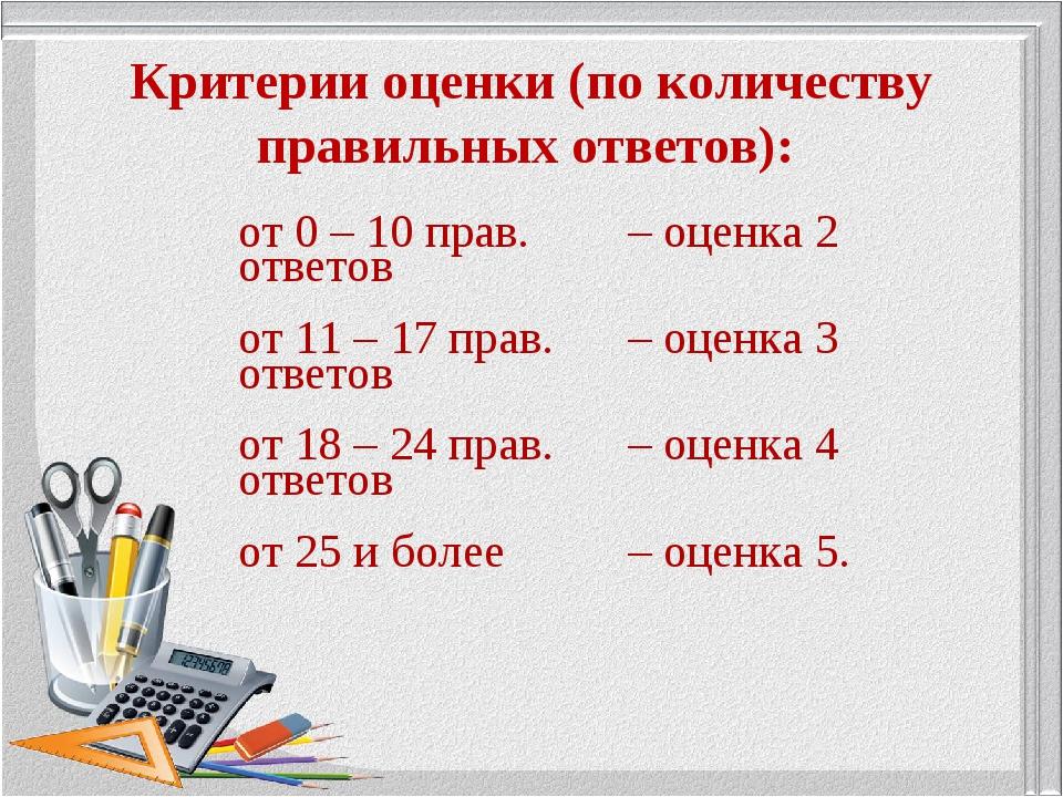 Критерии оценки (по количеству правильных ответов): от 0 – 10 прав. ответов...