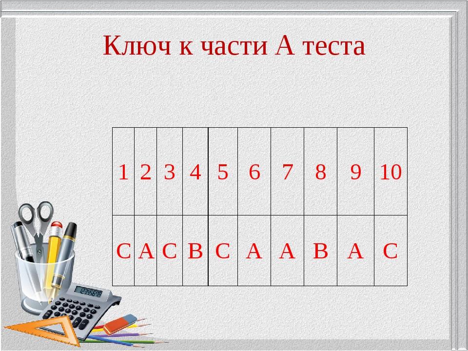 Ключ к части А теста 12345678910 СACBCAABAC