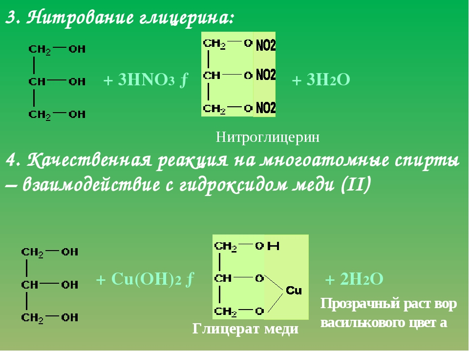 3. Нитрование глицерина: + 3НNО3 → 4. Качественная реакция на многоатомные сп...