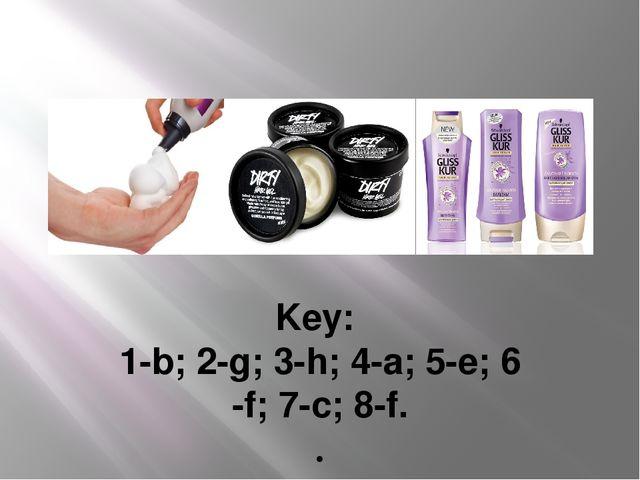 Key: 1-b; 2-g; 3-h; 4-a; 5-e; 6 -f; 7-c; 8-f. .