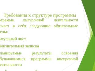 Требования к структуре программы Программа внеурочной деятельности включае