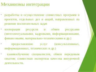 Механизмы интеграции разработка и осуществление совместных программ и проекто