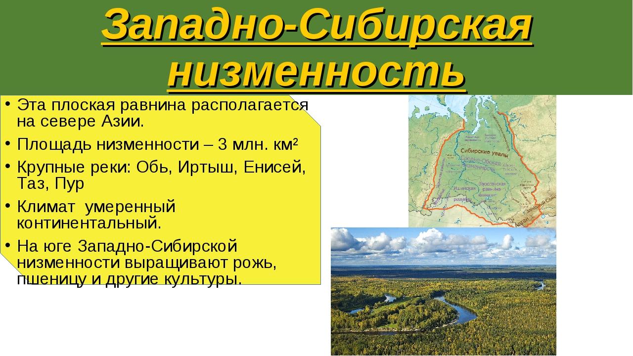 Западно-Сибирская низменность Эта плоская равнина располагается на севере Ази...