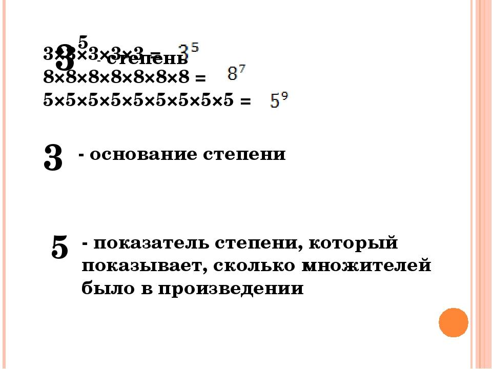 3×3×3×3×3 = 8×8×8×8×8×8×8 = 5×5×5×5×5×5×5×5×5 = 3 5 3 - основание степени 5 -...