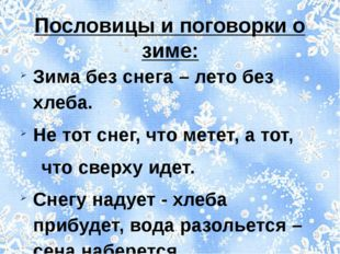 Пословицы и поговорки о зиме: Зима без снега – лето без хлеба. Не тот снег, ч
