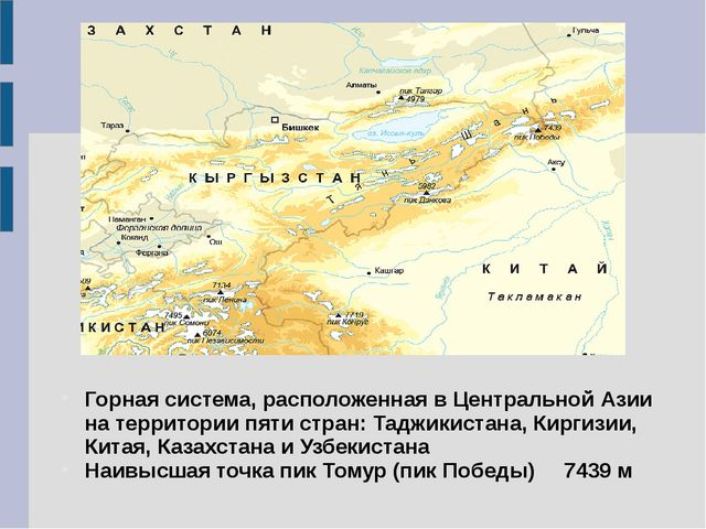 Горная система, расположенная в Центральной Азии на территории пяти стран: Та...