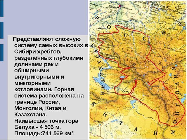 Представляют сложную систему самых высоких в Сибири хребтов, разделённых глу...