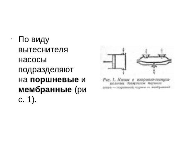 По виду вытеснителя насосы подразделяют напоршневыеимембранные(рис. 1).