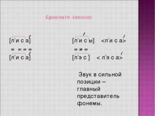 [л'и с а] = = = = [л'и с а]  [л'и с ы]  = ≠ = [л'э с ] < л'э с а>  Звук в