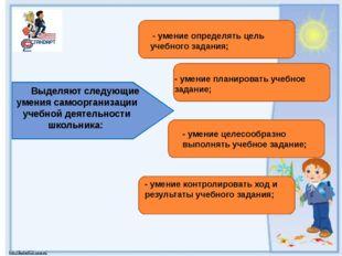 Выделяют следующие умения самоорганизации учебной деятельности школьника: -