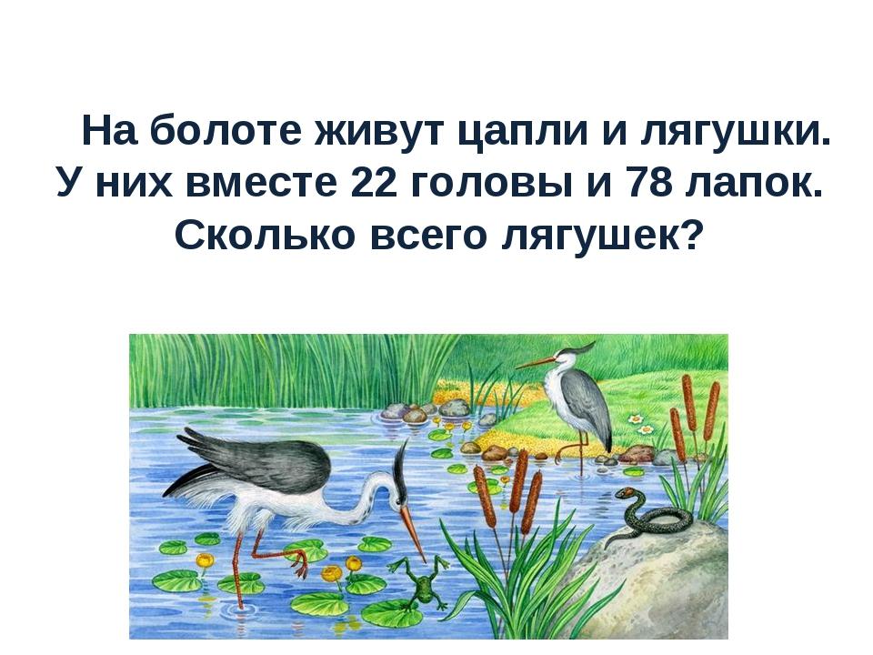 На болоте живут цапли и лягушки. У них вместе 22 головы и 78 лапок. Сколько в...