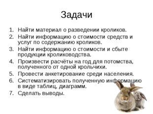 Задачи Найти материал о разведении кроликов. Найти информацию о стоимости сре