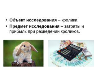 Объект исследования – кролики. Предмет исследования – затраты и прибыль при р