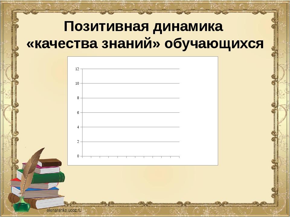 Позитивная динамика «качества знаний» обучающихся