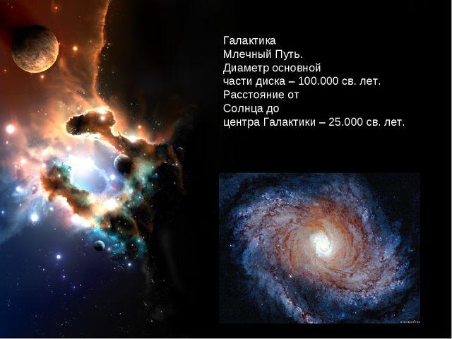 Галактика Млечный Путь. Диаметр основной части диска – 100.000 св. лет. Расст...