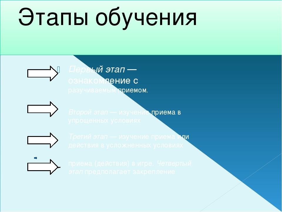 Этапы обучения - Первый этап—ознакомление с разучиваемым приемом. Второй эта...