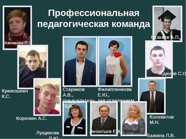 Профессиональная педагогическая команда Каюмова Л.С. Кривошеин К.С. Корюкин А...