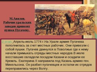 2 этап. Апрель-июль 1774 г.На Урале армия Пугачева пополнилась за счет местны