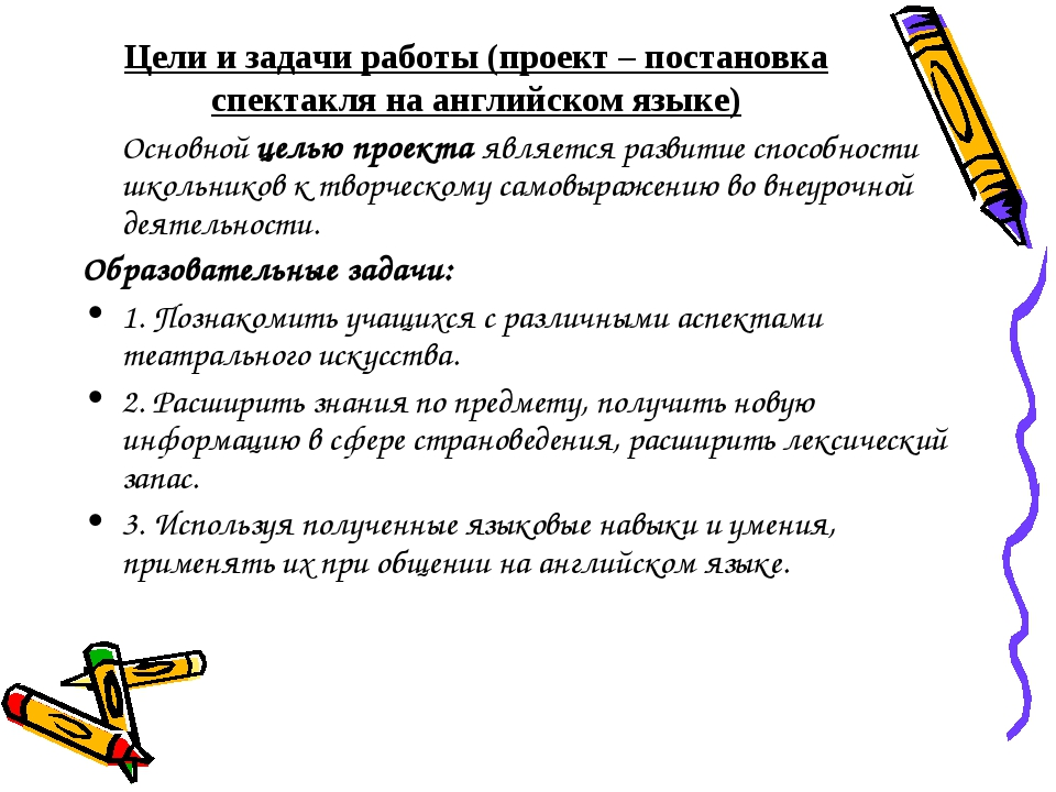 Цели и задачи работы (проект – постановка спектакля на английском языке) Осн...