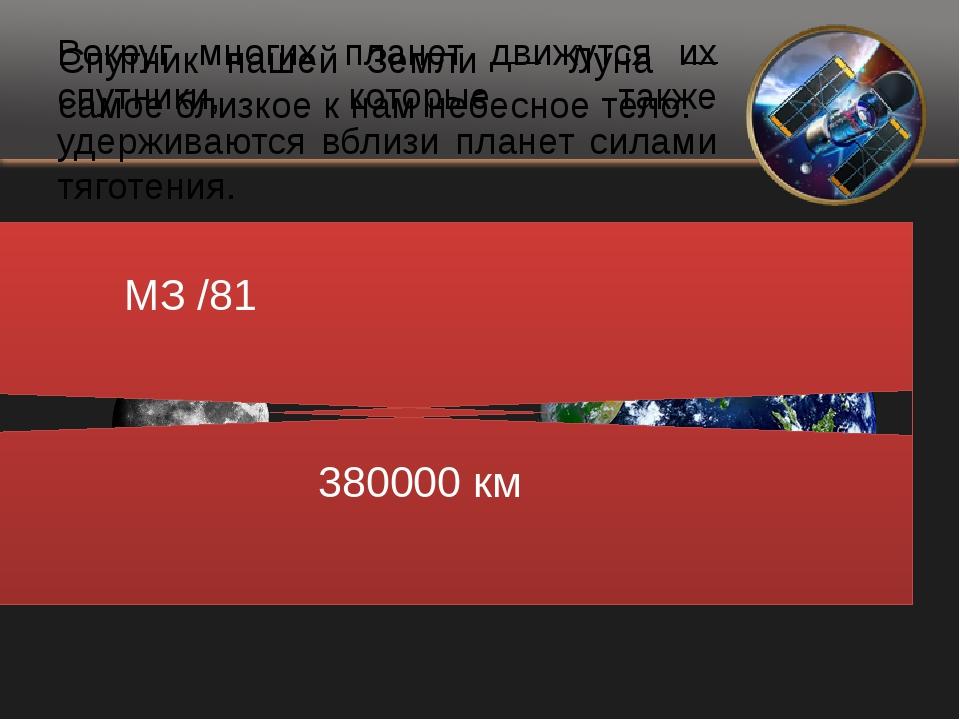 Вокруг многих планет движутся их спутники, которые также удерживаются вблизи...