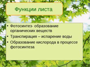 Функции листа Фотосинтез- образование органических веществ Транспирация – исп