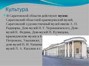 Культура В Саратовской области действуют музеи: Саратовский областной краевед