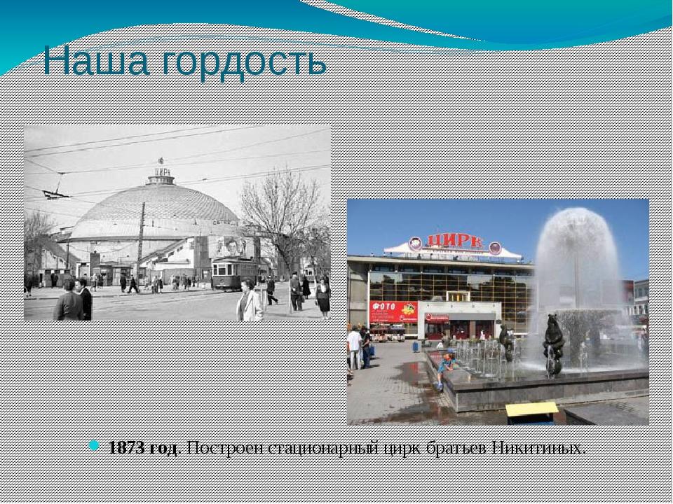 Наша гордость 1873 год. Построен стационарный цирк братьев Никитиных.