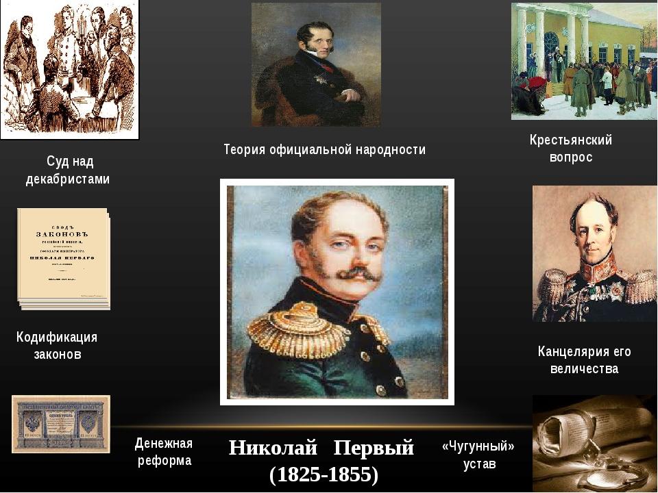 Николай Первый (1825-1855) Суд над декабристами Денежная реформа Кодификация...