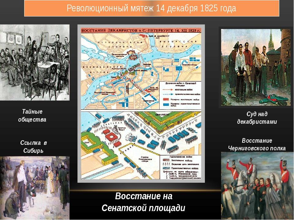 Революционный мятеж 14 декабря 1825 года Тайные общества Ссылка в Сибирь Суд...