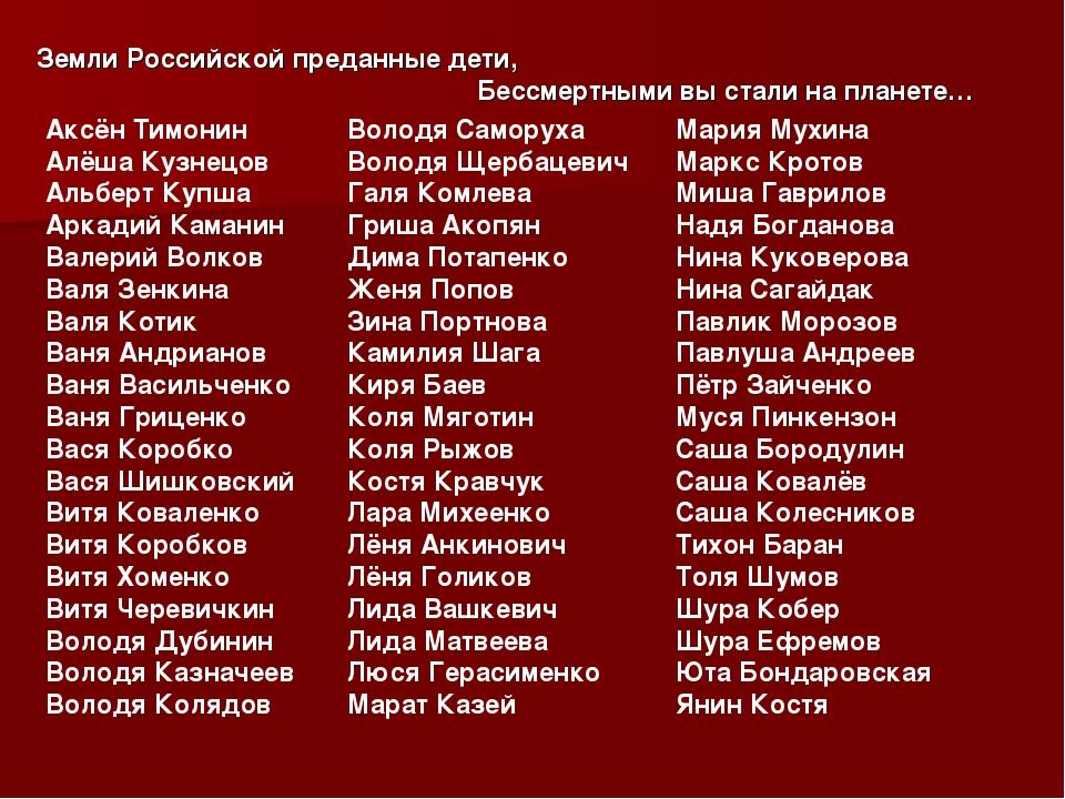 Земли Российской преданные дети, Бессмертными вы стали на планете… Аксён Тимо...
