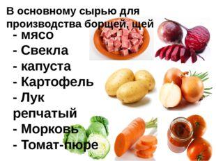 - мясо - Свекла - капуста - Картофель - Лук репчатый - Морковь - Томат-пюре В