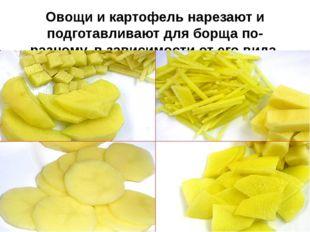 Овощи и картофель нарезают и подготавливают для борща по-разному, в зависимос