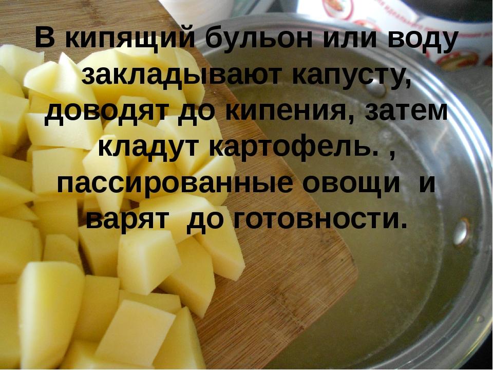 В кипящий бульон или воду закладывают капусту, доводят до кипения, затем клад...