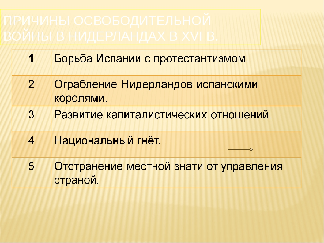 ПРИЧИНЫ ОСВОБОДИТЕЛЬНОЙ ВОЙНЫ В НИДЕРЛАНДАХ В XVI В.