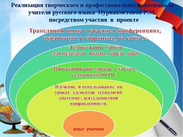 Реализация творческого и профессионального потенциала учителя русского языка...