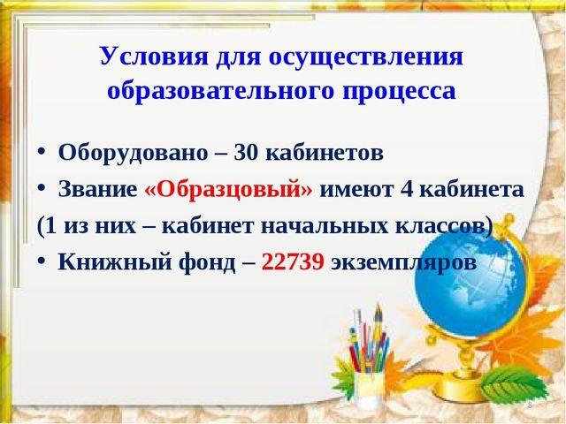 Условия для осуществления образовательного процесса Оборудовано – 30 кабинето...