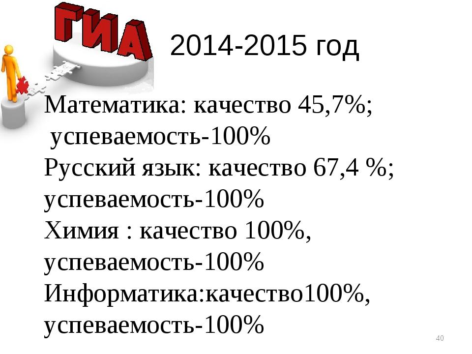 2014-2015 год * Математика: качество 45,7%; успеваемость-100% Русский язык:...