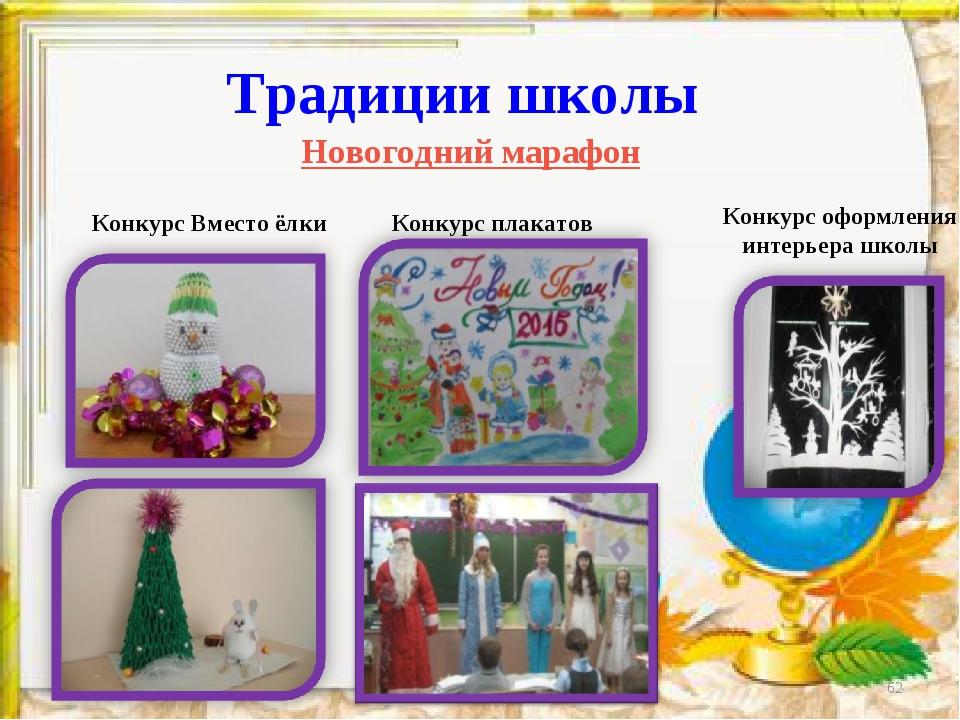 * Традиции школы Новогодний марафон Конкурс Вместо ёлки Конкурс плакатов Конк...