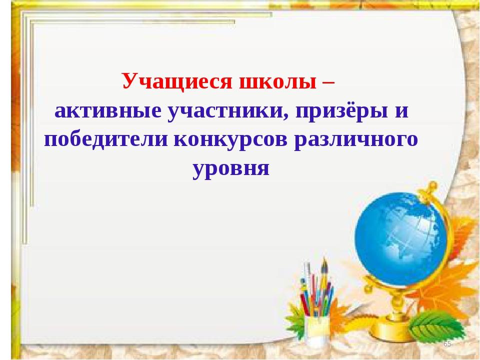 * Учащиеся школы – активные участники, призёры и победители конкурсов различн...