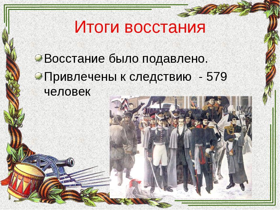 Итоги восстания Восстание было подавлено. Привлечены к следствию - 579 человек