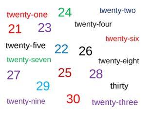 twenty-one twenty-two twenty-four twenty-five twenty-six twenty-seven twenty-