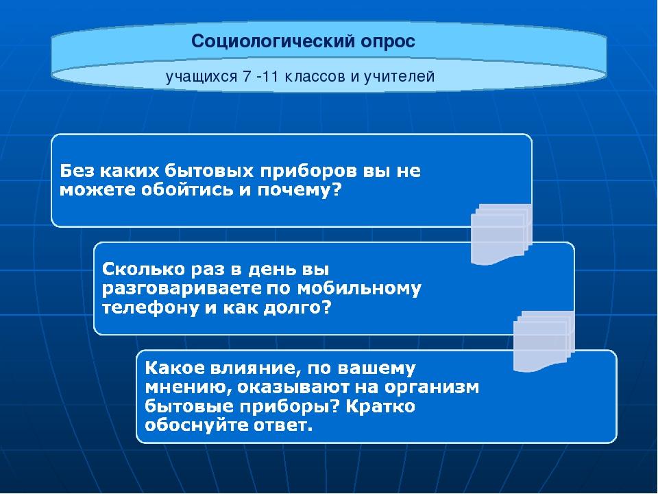 Социологический опрос учащихся 7 -11 классов и учителей
