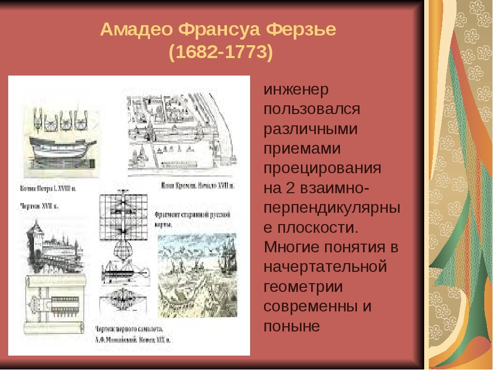 Амадео Франсуа Ферзье (1682-1773) инженер пользовался различными приемами про...