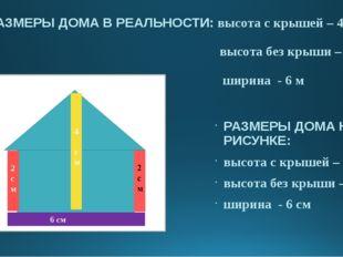 РАЗМЕРЫ ДОМА В РЕАЛЬНОСТИ: высота с крышей – 4 м высота без крыши – 2 м ширин