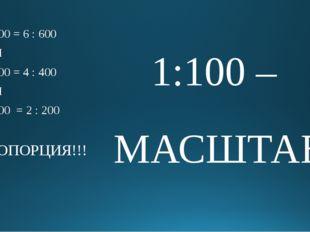 1 : 100 = 6 : 600 ИЛИ 1 : 100 = 4 : 400 ИЛИ 1 : 100 = 2 : 200 ПРОПОРЦИЯ!!! 1