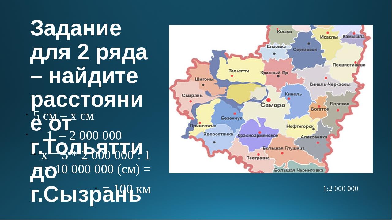 Задание для 2 ряда – найдите расстояние от г.Тольятти до г.Сызрань 5 см – х с...