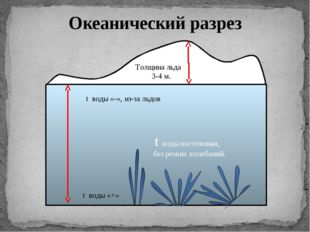Толщина льда 3-4 м. t воды постоянная, без резких колебаний. t воды «-», из-
