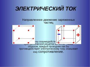 ЭЛЕКТРИЧЕСКИЙ ТОК Направленное движение заряженных частиц Электроны взаимодей